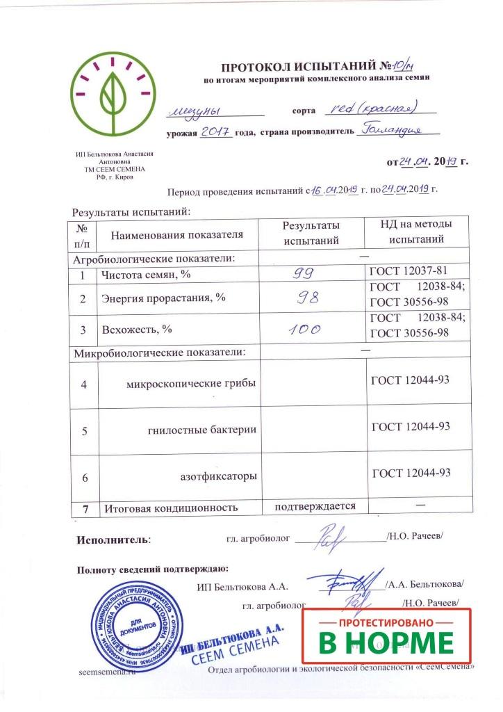 ПРОТОКОЛ ИСПЫТАНИЙ СЕМЯН МИЗУНЫ №10/м